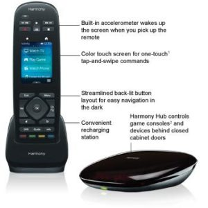 Logitech Harmony Ultimate Remote with Customizable Touch Screen & Closed Cabinet RF Control