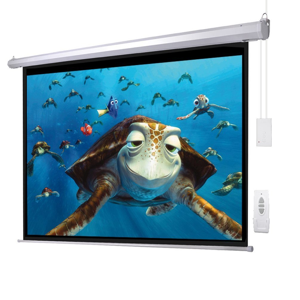 "100"" 4:3 Electric Screen Matte White Projector Projection RC Auto Remote Control US/110V"