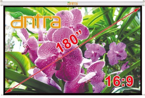 "Antra Electric Motorized 180"" 16:9 Projector Projection Screen Low Noise Tubular Motor (180"" 16:9, Matt White)"