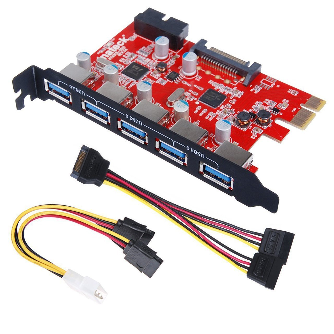 Inateck PCI-E to USB 3.0 5-Port PCI Express Card and 15-Pin Power Connector, Mini PCI-E USB 3.0 Hub Controller Adapter, with Internal USB 3.0 20-PIN Connector