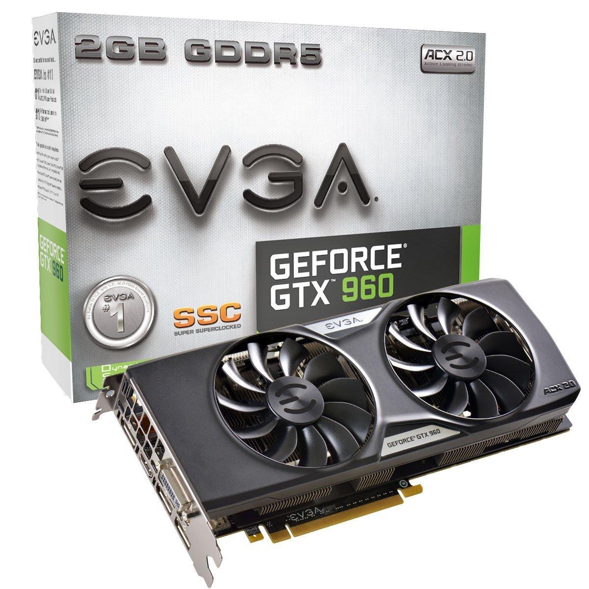 EVGA GeForce GTX 960 SuperSC ACX 2.0+ 2GB GDDR5 128bit, PCI-E 3.0 Dual-Link DVI-I, 3 x DP, HDMI, SLI, HDCP, G-SYNC Ready Graphics Cards 02G-P4-2966-KR