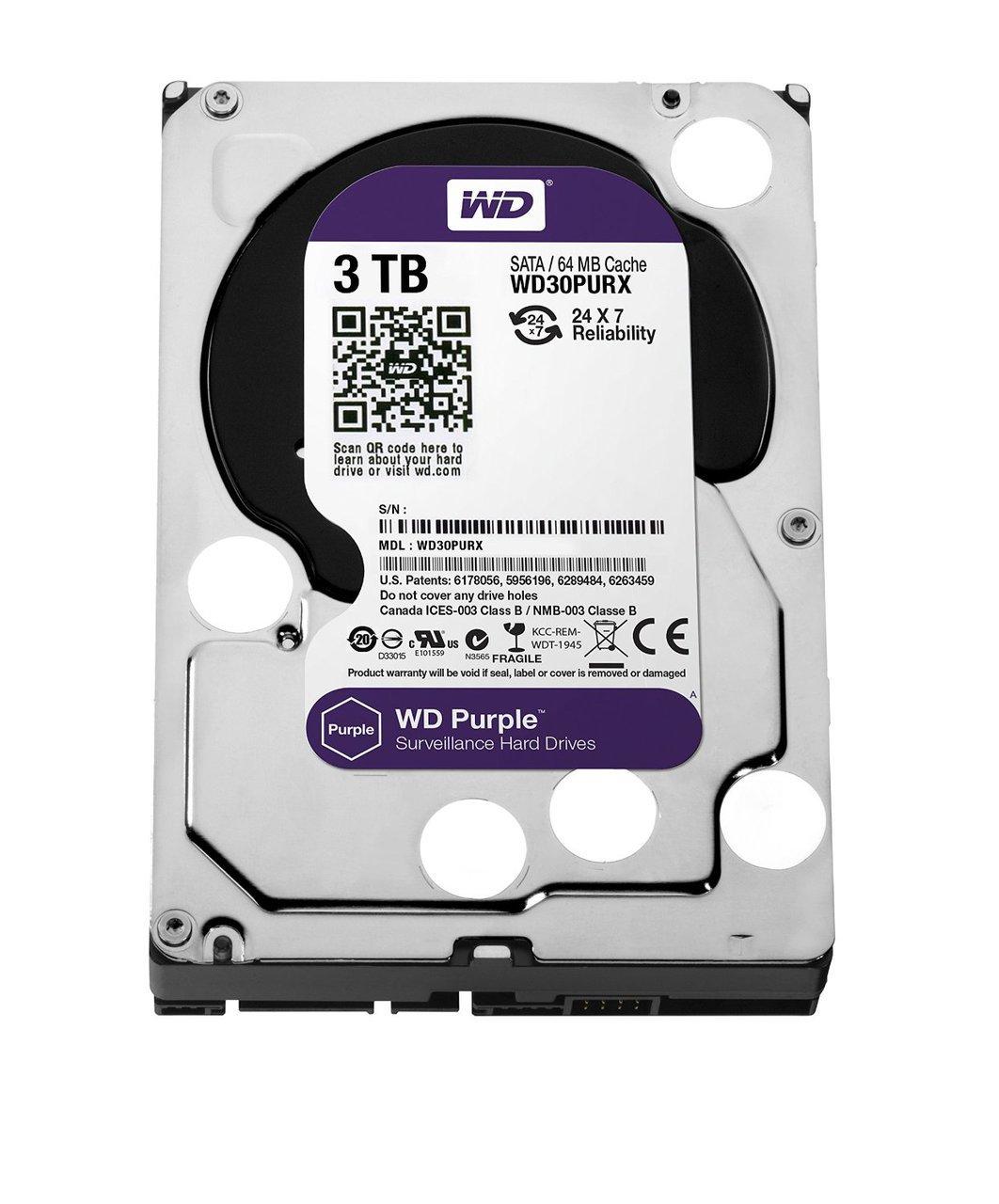 WD Purple 3TB Surveillence Hard Drive: 1 to 8-bay: 3.5-inch, SATA 6 Gb/s, Intellipower, 64MB Cache WD30PURX