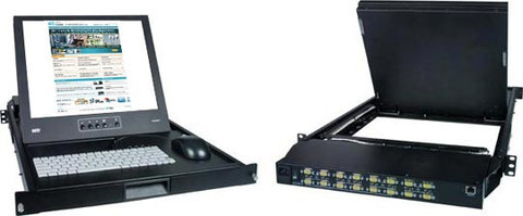"""NTI 17"""" Rackmount KVM Drawer w/ Real Mouse /16-Port USB VGA KVM Switch"""