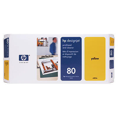 HP 80 Yellow Printhead & Printhead Cleaner C4823A Designjet 1000